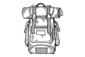 Tourist backpack engraving vector