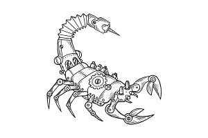 Mechanical scorpio animal engraving