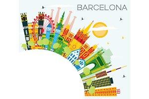 Barcelona Skyline with Color