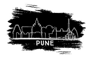 Pune India City Skyline Silhouette.