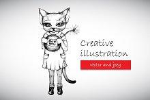 Creative illustration cat with bomb