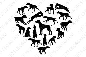 Pointer Dog Heart Silhouette Concept