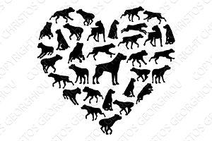 Rottweiler Dog Heart Silhouette