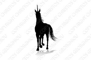 Unicorn Silhouette Horned Horse