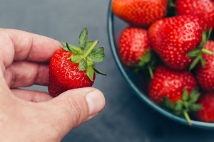 Hand holding red strawberry fruit