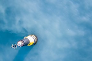 aerial top view from above sea buoy