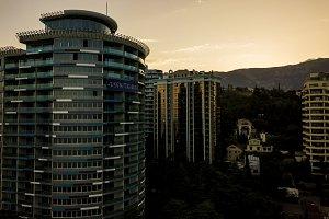 silhouette of tall skyscraper living