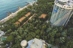 aerial view of tall resort hotel bui