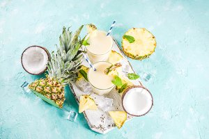 Iced pina colada cocktail
