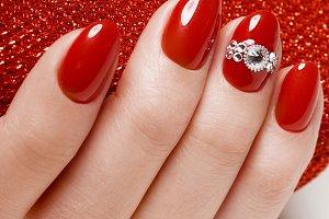 Bright festive red manicure