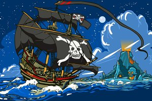 Pirate Ship Sailing to Skull Island