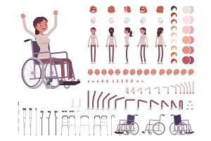 Female wheelchair user creation set