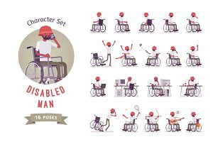 Male wheelchair user character set