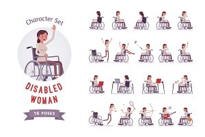Female wheelchair user haracter set