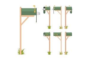 Green mailbox set