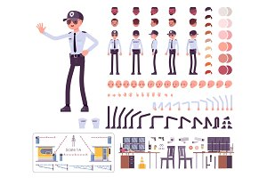 Male security guard creation set