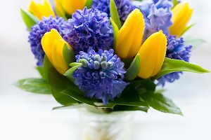 Bouquet of yellow and lilac flowers