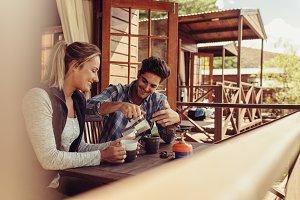 Couple on holiday having coffee
