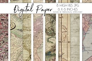 Vintage map digital paper pack, old