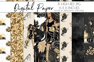 halloween digital paper, witch glam