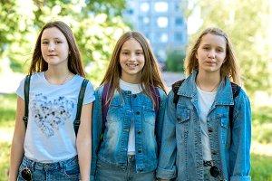 Three girl friends girl schoolgirl