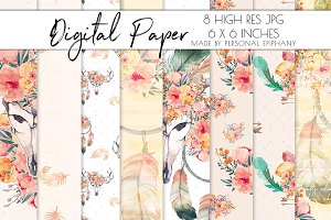 boho chic digital paper, boho dream