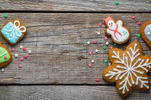 Christmas cookies on rustic wood