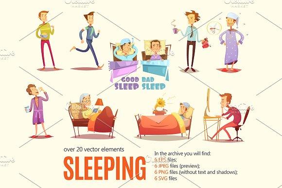 Sleeping Scenes Cartoon Set
