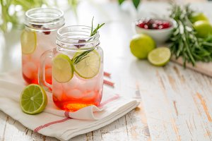 Cranberry lemonade in glass jar