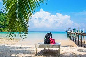 Bag on a tropical beach,summer vacat
