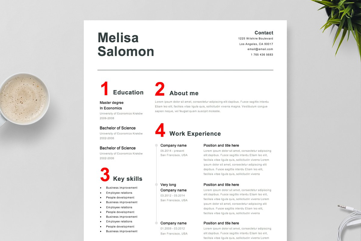 Resume Template 4 page | Swiss ~ Resume Templates ~ Creative Market