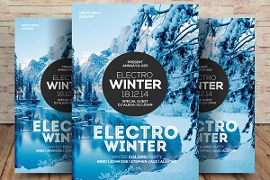 Electro Winter Event Flyer Template