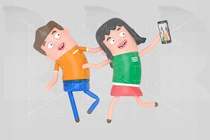 Young couple taking a selfie photo w