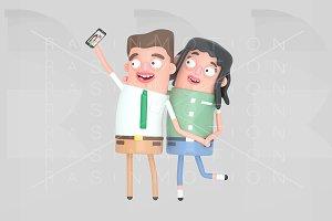Couple in love taking a selfie photo
