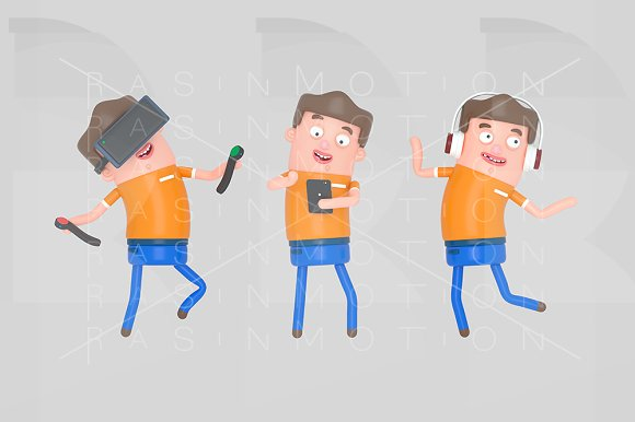 Boy enjoying with technology in Illustrations
