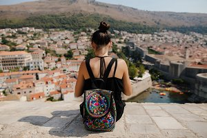 woman travel with rucksak bag