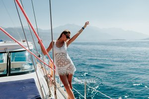 woman travel on yacht