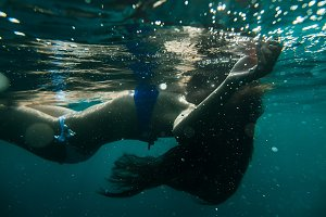 woman body underwater