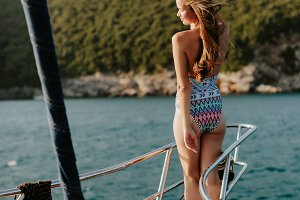 sexy girl travel on yacht