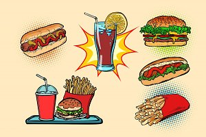 fast food set collection hot dog