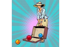 bowling ball. Woman with suitcase