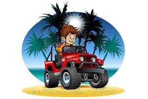 Vector cartoon boy driving 4x4 car