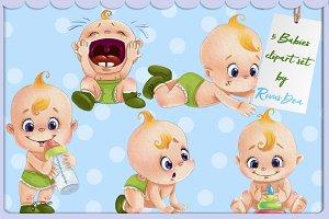 Watercolor babies clipart set