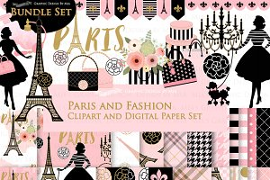 Paris Fashion Clipart+Pattern set