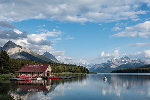 Maligne Lake and Mountains