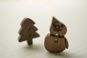 christmas wooden buttons