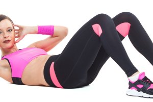one woman exercising workout fitness