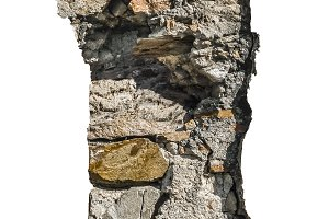Broken Concret Wall Isolated