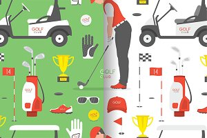 Seamless pattern with Golf game