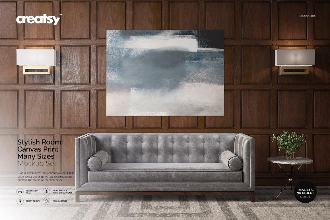Stylish Room Canvas Print Mockup ~ Print Mockups ~ Creative
